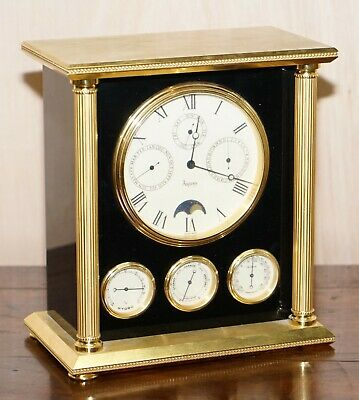 Rare Find Asprey London Swiss Made Moon Phase Clock With Barometer And Calendar
