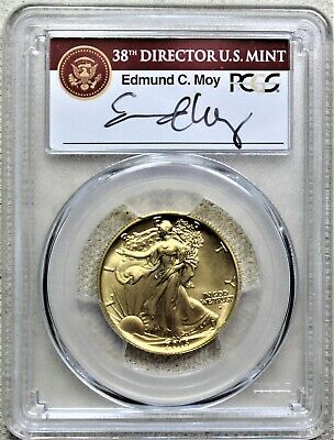 2016-w Us Gold Walking Liberty Half 1/2 Oz Pcgs Sp70 First Strike Moy Signature