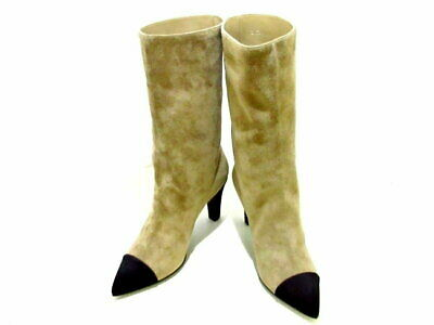 chanel g33119 beige black suede leather middle boots size #38c 9.44inch used