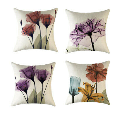 4piece Flowers Cotton Linen Square Pillowcase Car Cushion Throw Pillow Cover