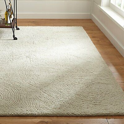 New Crate And Barrel Tufted Alfredo Ivory 5x8 6x9 8x10 9x12 Wool Area Rug