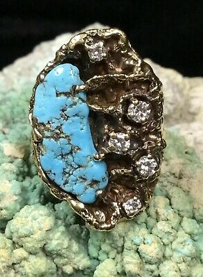 "Finest! ""james Avery"" 14k Gold, Diamonds & Turquoise Retired Ring, 13.5g"