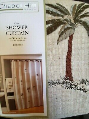 New Croscill Chapel Hill Santa Barbara Palm Tree Tropical Fabric Shower Curtain
