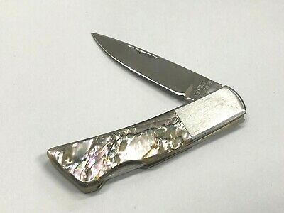 Vintage Gerber Silver Knight Lock Back Knife Mother Of Pearl Abalone