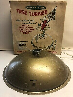 Vintage Holly Time Tree Turner Revolving Musical Christmas Gold Hard To Find