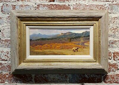 Greg Beecham -grizzly Bear Crossing A Big Country Landscape- Oil Painting