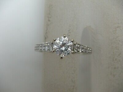 14k White Gold Diamond Engagement Ring 1.12 Tcw Solitaire W Accents Size 5