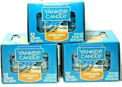 Yankee Candle 3x Boxes Of Turquoise Sky Tea Light Candles - Free Shipping