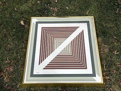 Large 60's 70's Greg Copeland Framed Brass Art Geometric Signed Mirror Picture