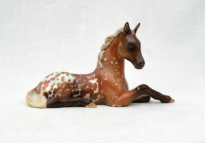 Cute! Ceramic Appaloosa Red Color Spots Lying Foal Filly Horse Colt Figurine