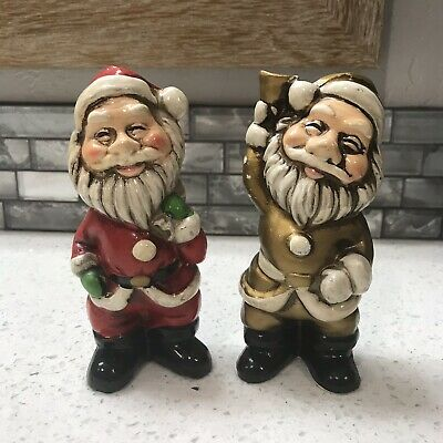 Santa Claus Figurines Composite Material Hand Painted Made In Japan Vintage Cute