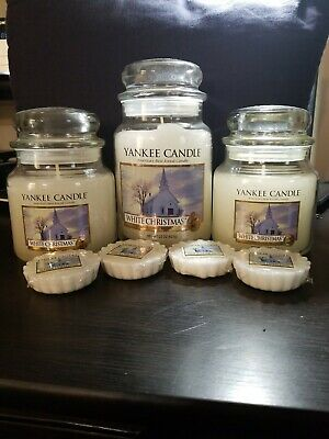 Rare Yankee Candle White Christmas Lot- New New Burned
