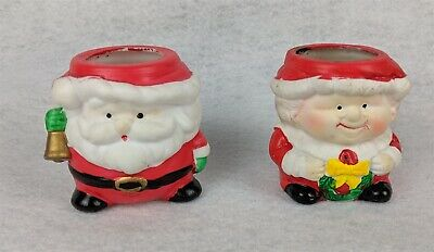 """Santa And Mrs. Claus Vintage Candle Holders Collectible Figurines 2-3/4"""""""