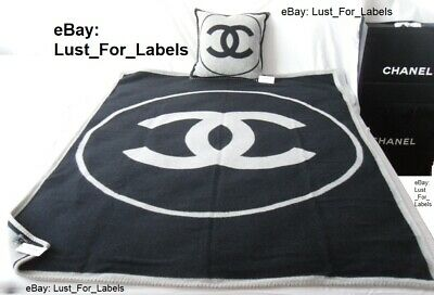 Chanel Cc Combo Set Blanket & Pillow Cashmere Throw Rug Bed Sofa Wall Art Travel