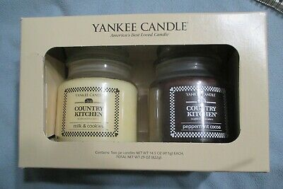 """2010 Nib/ Yankee Candle Country Kitchen Set """"milk & Cookies/ Peppermint Cocoa"""