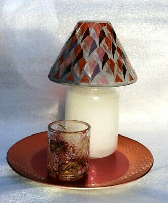 Yankee Candle Fall Set 1 Blush Mosaic Shade +1 Multi Color Leaves V/h +red Plate