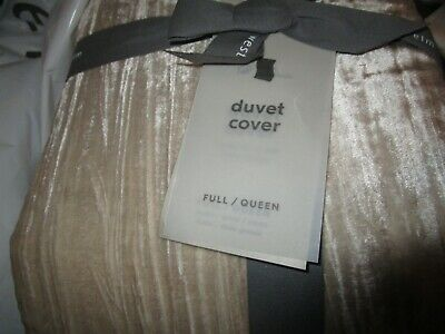 West Elm  Crinkle Velvet Duvet Cover Full Queen Stone New W Tag