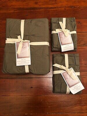West Elm Square Tuck Full/queen Duvet Cover + 2 Euro Shams 100% Cotton Clay Nwt