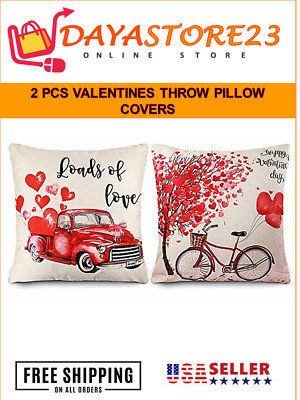Cdwerd 2pcs Valentines Throw Pillow Covers 18x18 Inches Bicycle And Truck Happy
