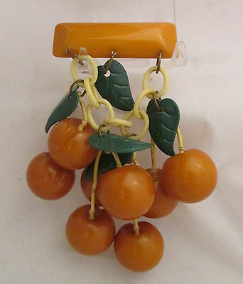 Vintage Bakelite Golden Butterscotch Colored Carved Cherries Dangle Pin Brooch