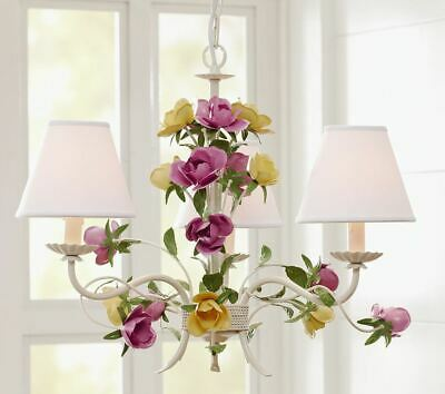 $599 Pottery Barn Kids Hailey Antique Flower Roses Chandelier Light Sold Out