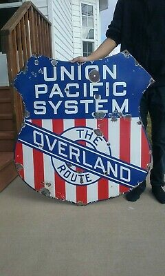 """Union Pacific Railroad """"the Overland Route"""" Porcelain Sign- 150 Yr. Anniversary"""