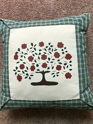 Dianthus Stenciled Green Plaid Zippered Throw Pillow