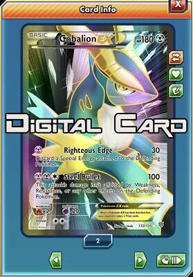 Cobalion EX Full Art 133/135 - PTCGO DIGITAL CARD - Pokemon - Plasma Storm