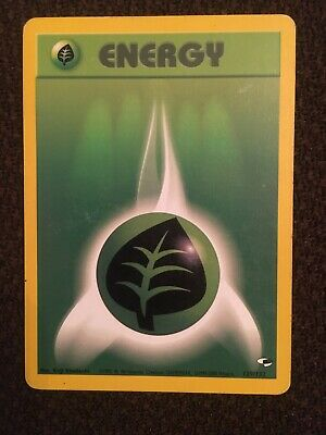 Pokemon Grass Energy Miscut with Alignment Dot from Gym Heroes 129/132, LP/NM