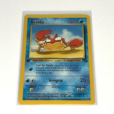 Krabby 1st Edition Fossil Set Pokemon Card 1999 WOTC (51/62)