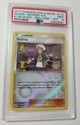 Pokemon Burning Shadows Regional Championship GUZMA STAFF PSA 9 Reverse Holo