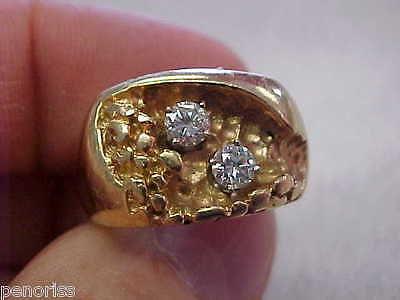 Mens 2 Diamond Ring 14k Gold Size 8-1/2  Very Nice!   Make Offer