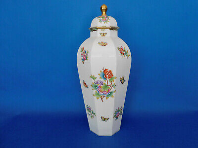 Herend Queen Victoria Huge 8 Angle Vase Porcelain 26 Inch Tall!