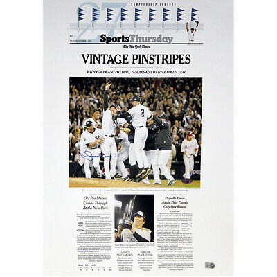 Mariano Rivera Signed Ny Times 2009 Sports Cover 16x20 Vintage Yankee Pinstripes