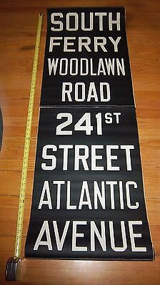 Vintage Nyc Subway Roll Sign South Ferry Atlantic Ave Brooklyn Ny Woodlawn Road