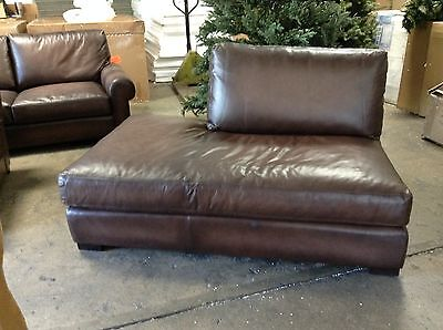 Pottery Barn Turner Leather Sofa Sectional Left Love Bumper Piece Burnt Walnut