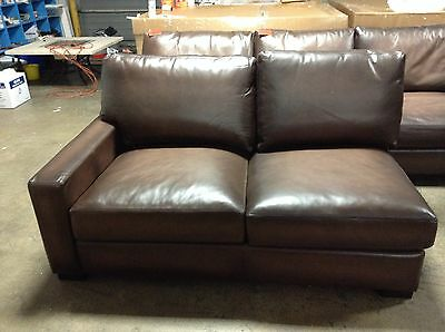 Pottery Barn Turner Leather Sofa Sectional Square Arm Left Loveseat Burnt Walnut
