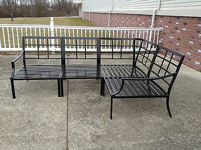 Pottery Barn Riviera Outdoor Sectional Sofa Frame Bronze Armless Chairs Corner 4