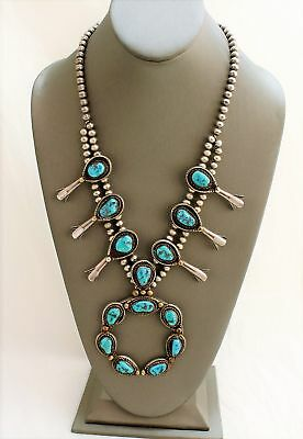 Vintage Sterling Silver Genuine Dry Creek Turquoise Squash Blossom Necklace 1950