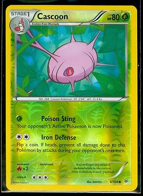 Pokemon CASCOON 6/108 - XY Roaring Skies - Rev Holo - MINT