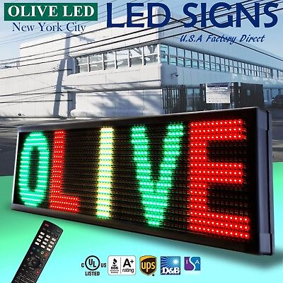 """Olive Led Sign 3color Rgy 21""""x87"""" Ir Programmable Scroll. Message Display Emc"""