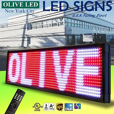 """Olive Led Sign 3color Rwp 21""""x89"""" Ir Programmable Scroll. Message Display Emc"""
