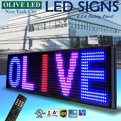 """Olive Led Sign 3color Rbp 21""""x89"""" Ir Programmable Scroll. Message Display Emc"""