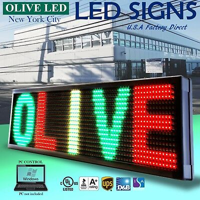"""Olive Led Sign 3color Rgy 12""""x31"""" Pc Programmable Scroll. Message Display Emc"""
