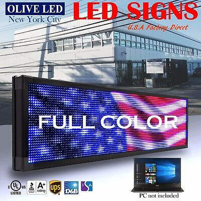 """Olive Led Sign Full Color 19x102"""" Programmable Scrolling Message Outdoor Display"""
