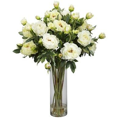 New 38-in H X 28-in W Classic White Flower Silk Arrangement With Cylinder Vase