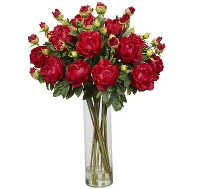 New 38-in H X 28-in W X 28-in D Classic Red Silk Arrangement With Cylinder Vase