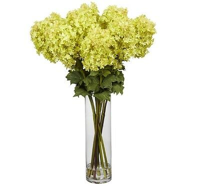 New 40-in Giant Yellow Hydrangea Realistic Silk Arrangement With Cylinder Vase