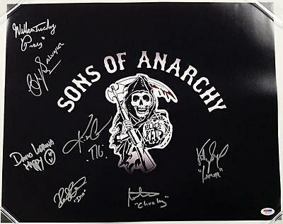 Sons Of Anarchy Cast X7 Signed 16x20 Photo Sagal Coates Lucking W/psa/dna