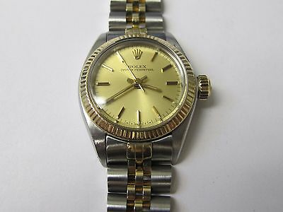 Rolex Vintage Oyster Perpetual Date Ladies S/steel And 14k Gold Champagne Dial